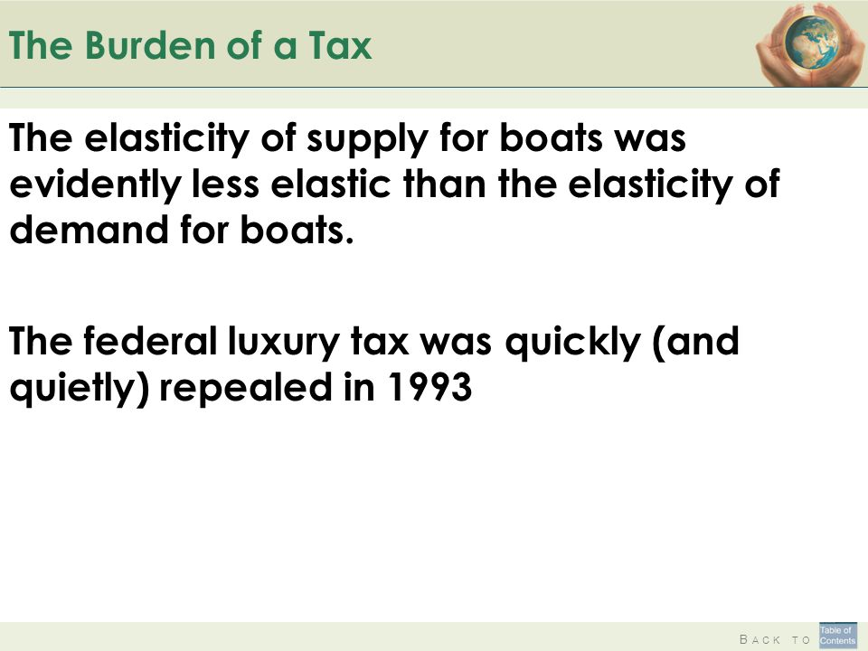 B ACK TO The Burden of a Tax The elasticity of supply for boats was evidently less elastic than the elasticity of demand for boats. The federal luxury