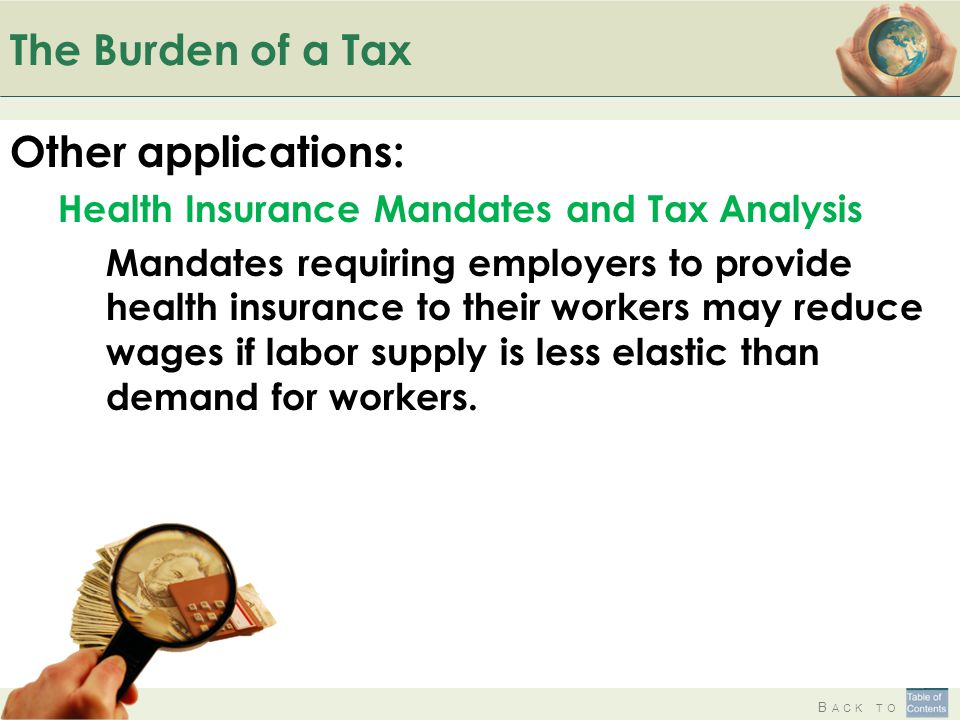 B ACK TO The Burden of a Tax Other applications: Health Insurance Mandates and Tax Analysis Mandates requiring employers to provide health insurance t