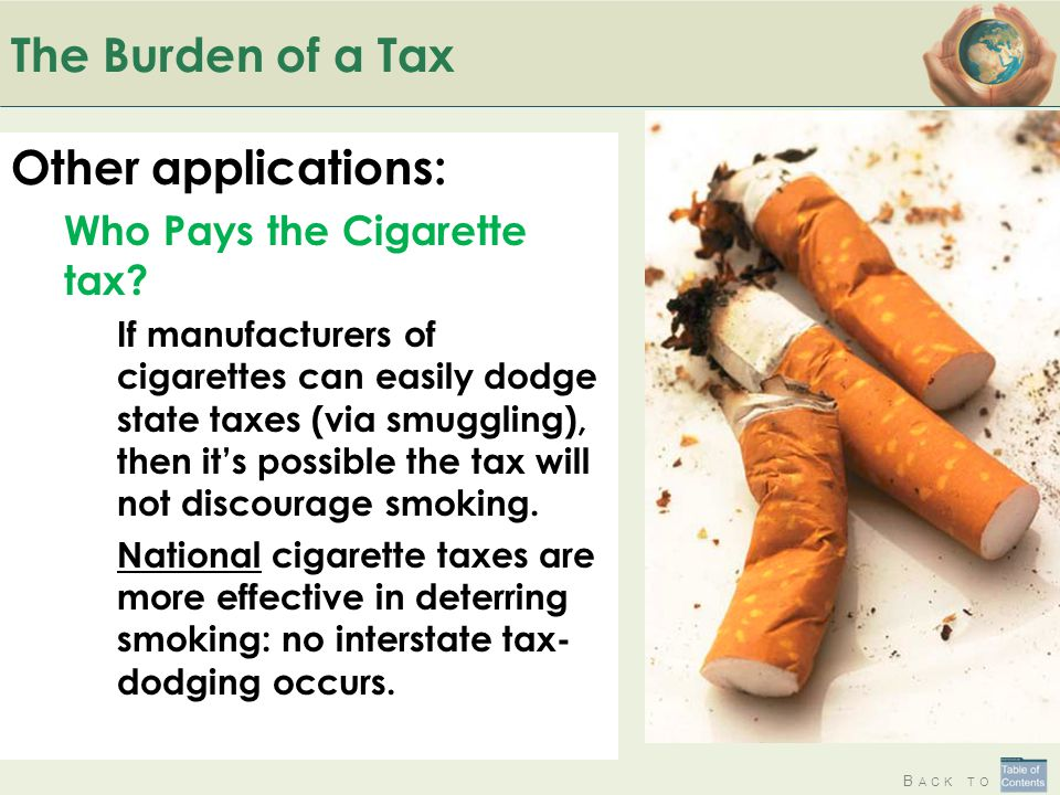B ACK TO The Burden of a Tax Other applications: Who Pays the Cigarette tax? If manufacturers of cigarettes can easily dodge state taxes (via smugglin