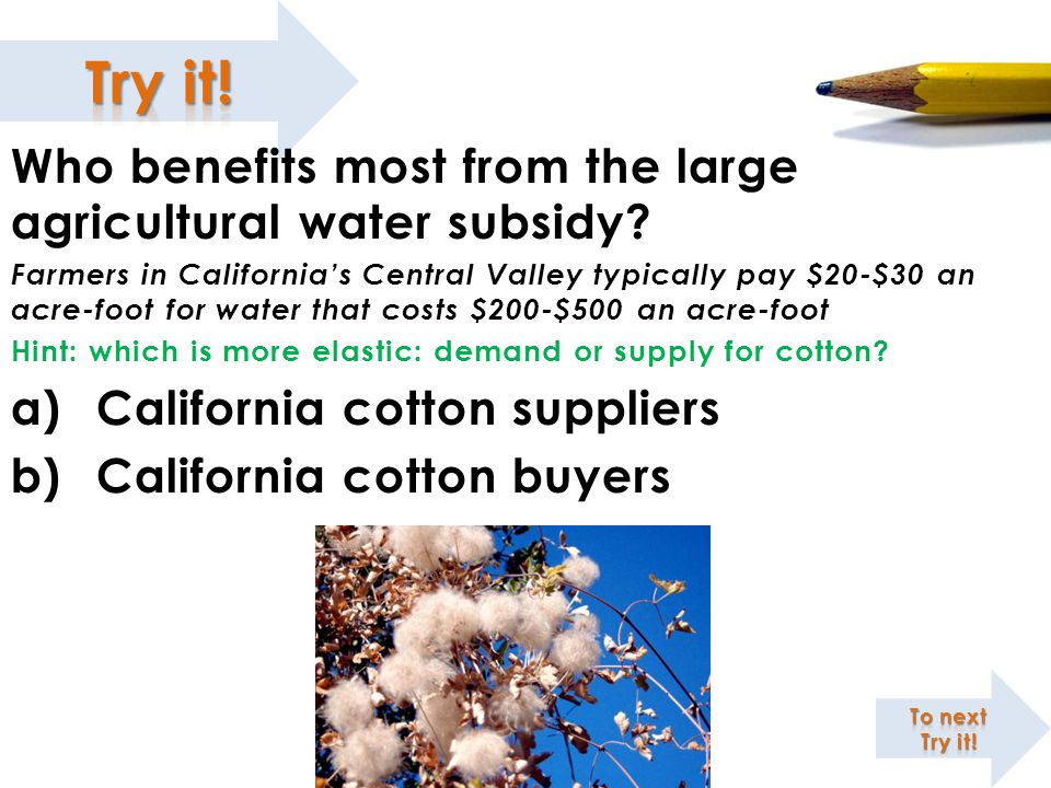 King Cotton and the Deadweight Loss of Water Subsidies Who benefits most from the large agricultural water subsidy? Farmers in California's Central Va
