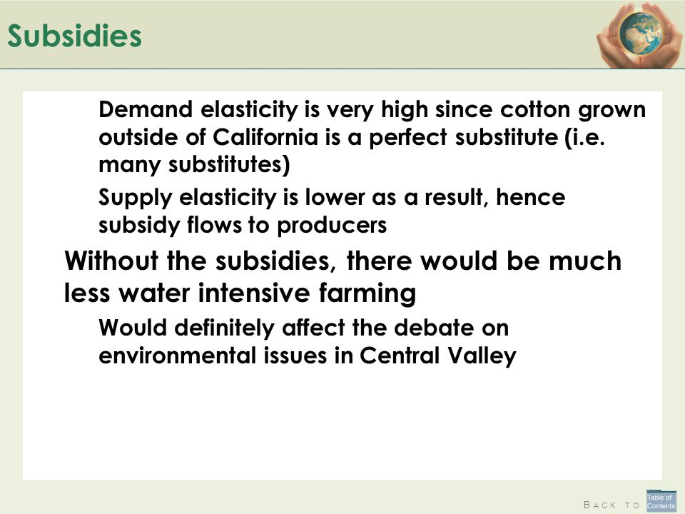B ACK TO Subsidies Demand elasticity is very high since cotton grown outside of California is a perfect substitute (i.e. many substitutes) Supply elas