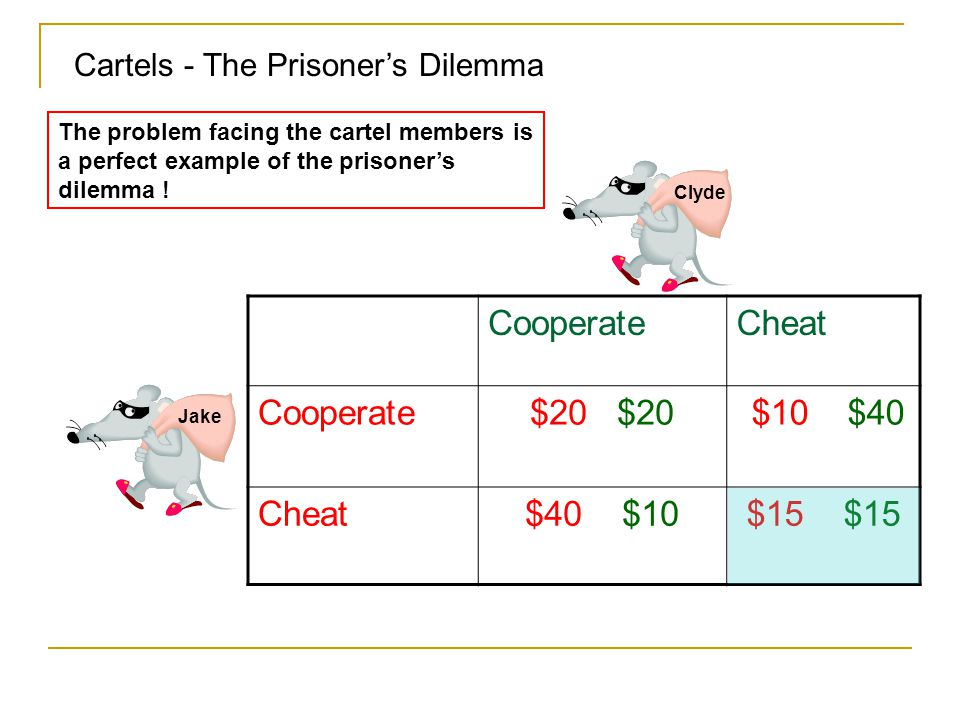 Cartels - The Prisoner's Dilemma Jake Clyde CooperateCheat Cooperate$20 $10 $40 Cheat$40 $10$15 The problem facing the cartel members is a perfect exa