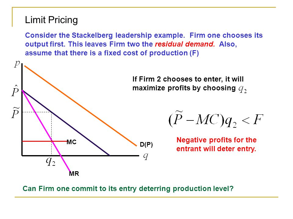 D(P) Limit Pricing Consider the Stackelberg leadership example. Firm one chooses its output first. This leaves Firm two the residual demand. Also, ass