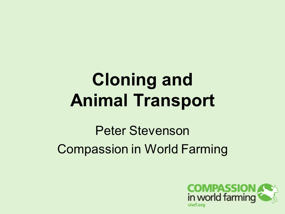 Cloning and Animal Transport Peter Stevenson Compassion in World Farming