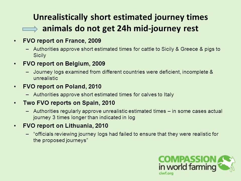 Unrealistically short estimated journey times animals do not get 24h mid-journey rest FVO report on France, 2009 –Authorities approve short estimated times for cattle to Sicily & Greece & pigs to Sicily FVO report on Belgium, 2009 –Journey logs examined from different countries were deficient, incomplete & unrealistic FVO report on Poland, 2010 –Authorities approve short estimated times for calves to Italy Two FVO reports on Spain, 2010 –Authorities regularly approve unrealistic estimated times – in some cases actual journey 3 times longer than indicated in log FVO report on Lithuania, 2010 – officials reviewing journey logs had failed to ensure that they were realistic for the proposed journeys