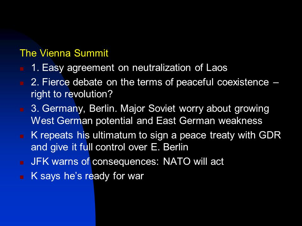 The Vienna Summit 1. Easy agreement on neutralization of Laos 2.