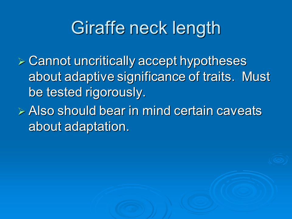 Giraffe neck length  Cannot uncritically accept hypotheses about adaptive significance of traits. Must be tested rigorously.  Also should bear in mi