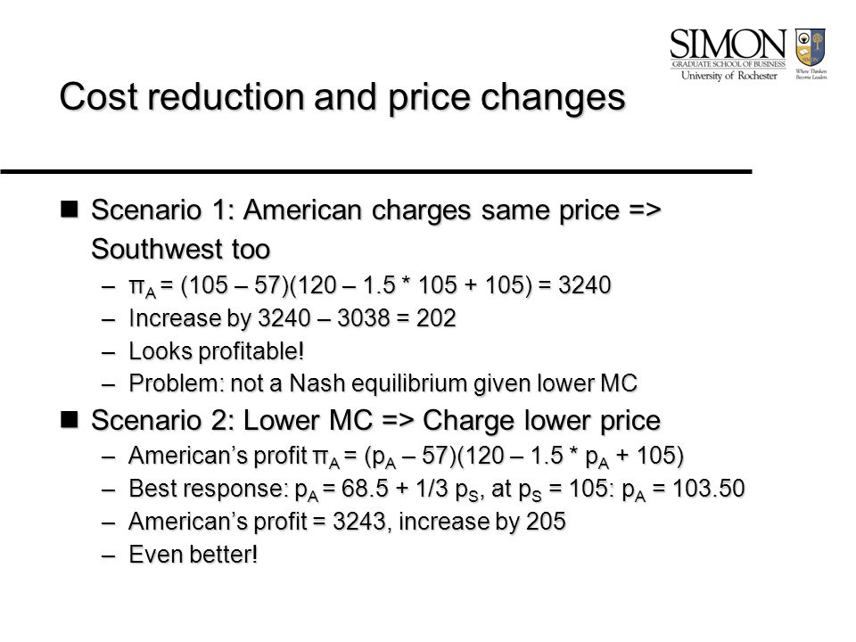 Cost reduction and price changes Scenario 1: American charges same price => Southwest too Scenario 1: American charges same price => Southwest too –π