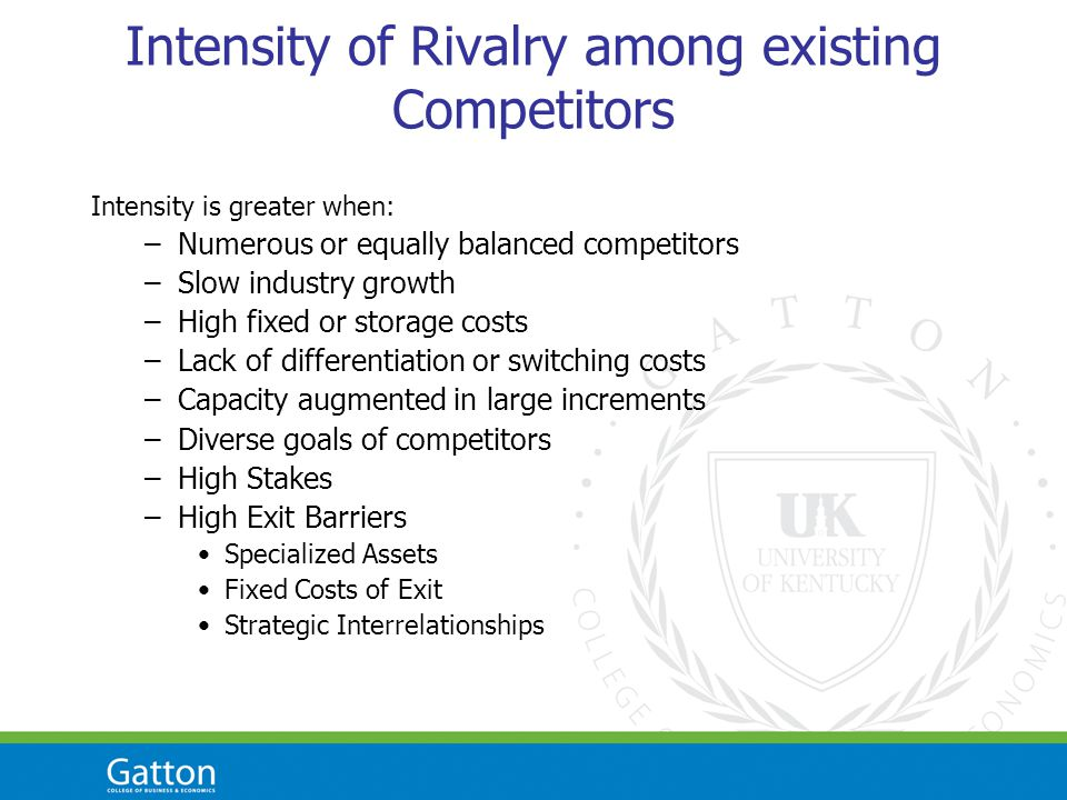 Intensity of Rivalry among existing Competitors Intensity is greater when: –Numerous or equally balanced competitors –Slow industry growth –High fixed or storage costs –Lack of differentiation or switching costs –Capacity augmented in large increments –Diverse goals of competitors –High Stakes –High Exit Barriers Specialized Assets Fixed Costs of Exit Strategic Interrelationships