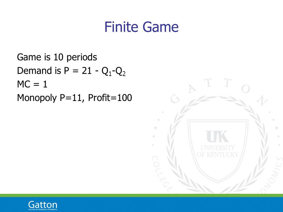 Finite Game Game is 10 periods Demand is P = 21 - Q 1 -Q 2 MC = 1 Monopoly P=11, Profit=100