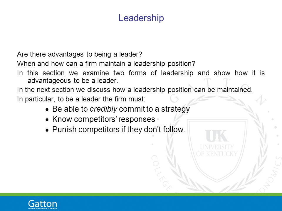 Leadership Are there advantages to being a leader.