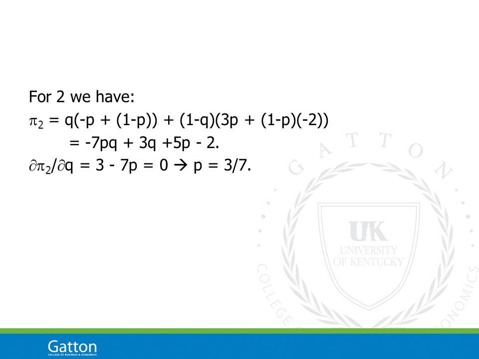 For 2 we have:  2 = q(-p + (1-p)) + (1-q)(3p + (1-p)(-2)) = -7pq + 3q +5p - 2.