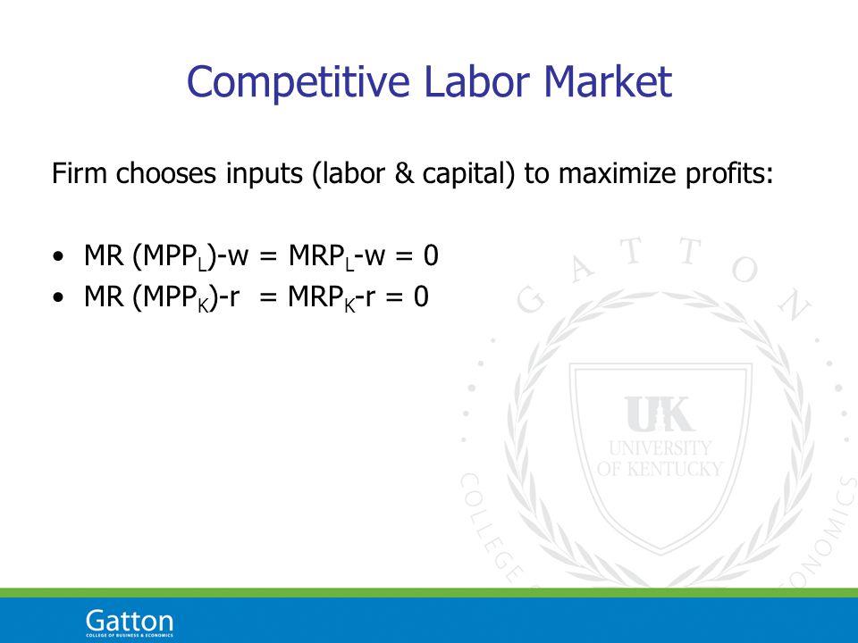 Competitive Labor Market Firm chooses inputs (labor & capital) to maximize profits: MR (MPP L )-w = MRP L -w = 0 MR (MPP K )-r = MRP K -r = 0
