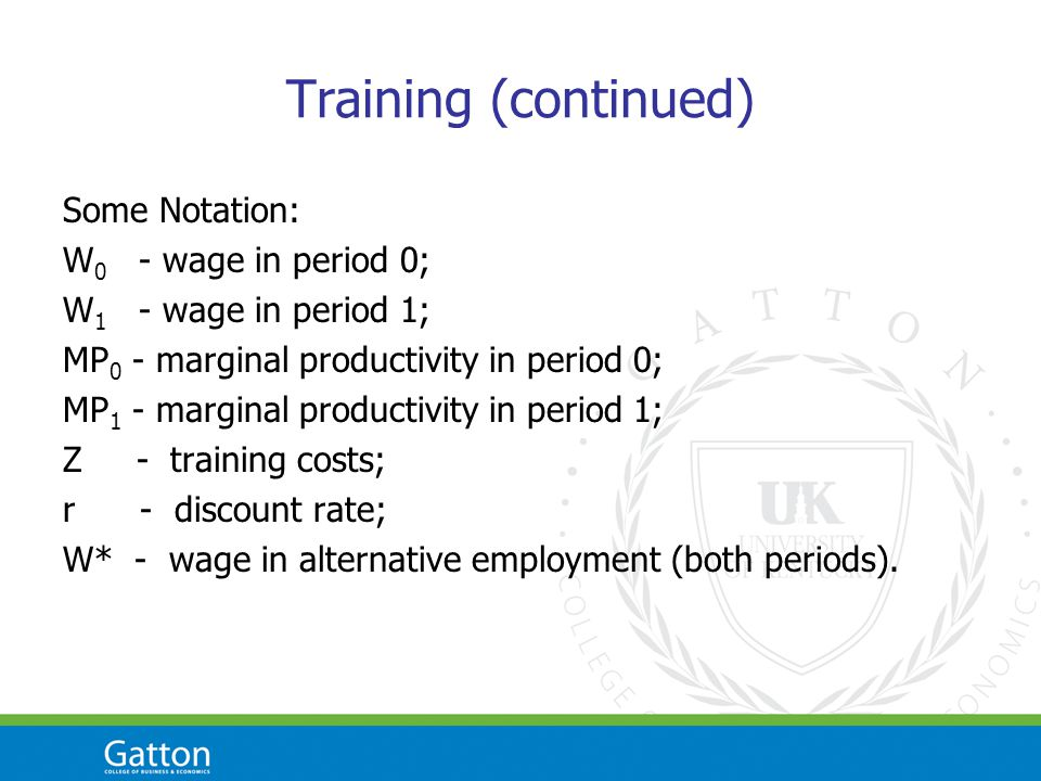 Training (continued) Some Notation: W 0 - wage in period 0; W 1 - wage in period 1; MP 0 - marginal productivity in period 0; MP 1 - marginal productivity in period 1; Z - training costs; r - discount rate; W* - wage in alternative employment (both periods).