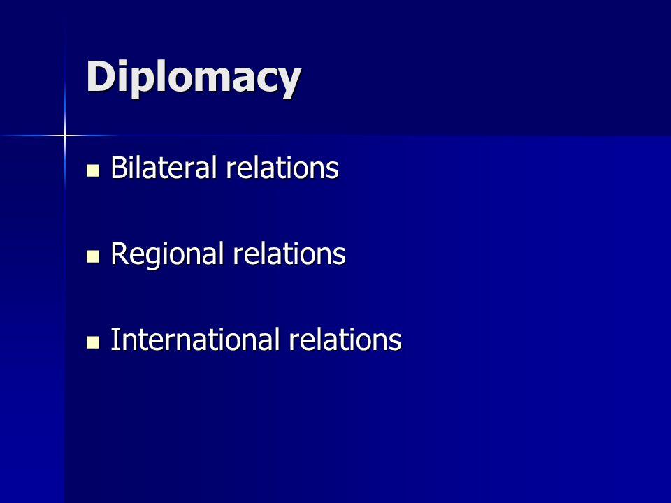 Diplomacy Bilateral relations Bilateral relations Regional relations Regional relations International relations International relations