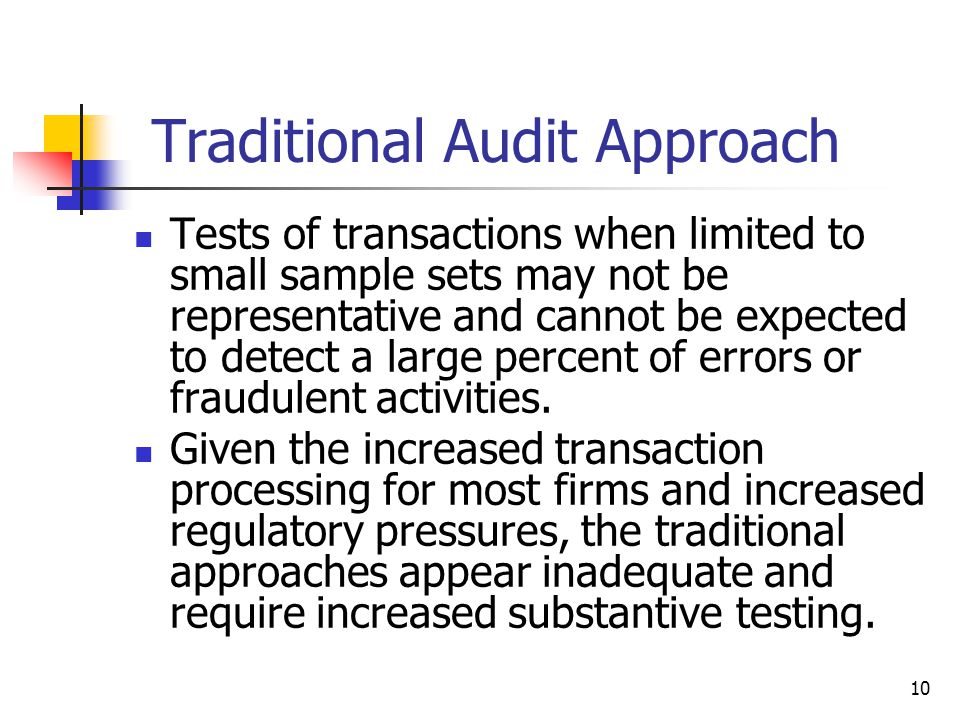 Traditional Audit Approach Tests of transactions when limited to small sample sets may not be representative and cannot be expected to detect a large percent of errors or fraudulent activities.