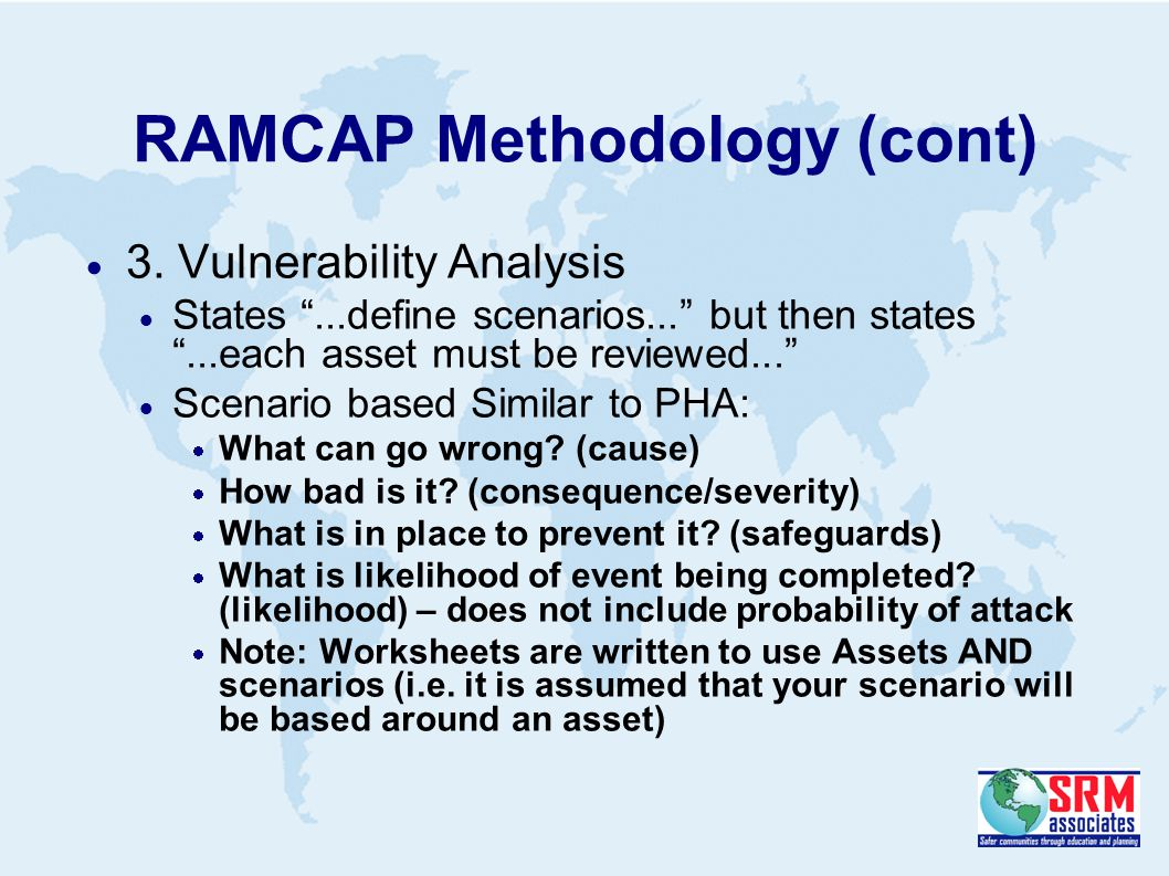 RAMCAP Methodology (cont)  3.