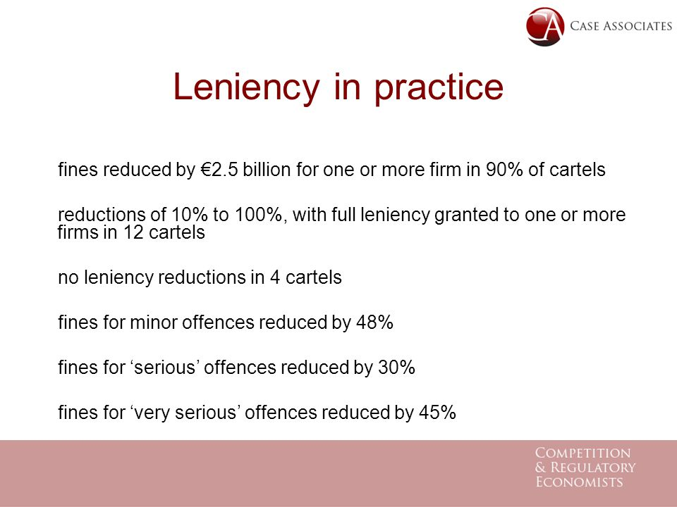 Leniency in practice fines reduced by €2.5 billion for one or more firm in 90% of cartels reductions of 10% to 100%, with full leniency granted to one or more firms in 12 cartels no leniency reductions in 4 cartels fines for minor offences reduced by 48% fines for 'serious' offences reduced by 30% fines for 'very serious' offences reduced by 45%