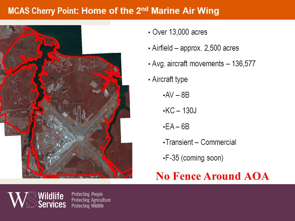 Over 13,000 acres Airfield – approx. 2,500 acres Avg. aircraft movements – 136,577 Aircraft type AV – 8B KC – 130J EA – 6B Transient – Commercial F-35