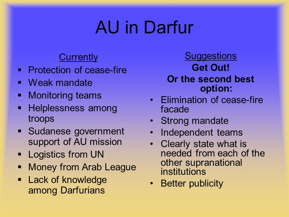 AU in Darfur Currently  Protection of cease-fire  Weak mandate  Monitoring teams  Helplessness among troops  Sudanese government support of AU mission  Logistics from UN  Money from Arab League  Lack of knowledge among Darfurians Suggestions Get Out.