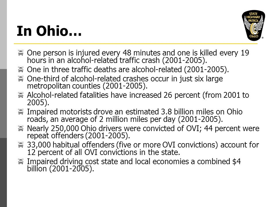 In Ohio…  One person is injured every 48 minutes and one is killed every 19 hours in an alcohol-related traffic crash (2001-2005).