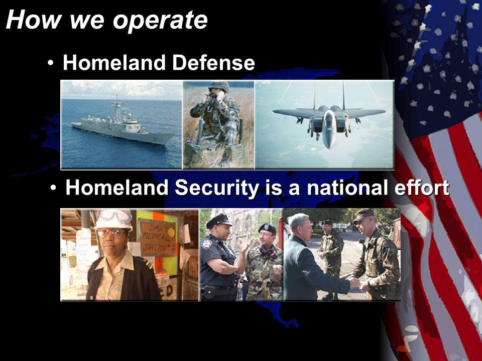 How we operate Homeland DefenseHomeland Defense Homeland Security is a national effortHomeland Security is a national effort