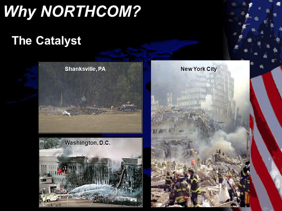 Why NORTHCOM? Shanksville, PA Washington, D.C. New York City The Catalyst