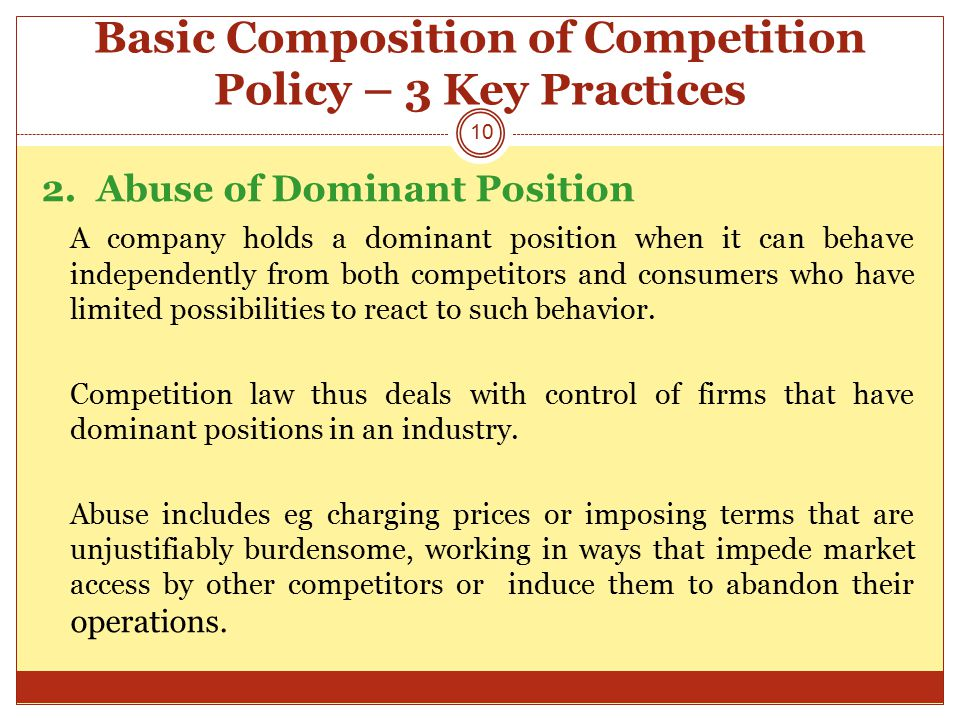 Basic Composition of Competition Policy – 3 Key Practices 2.
