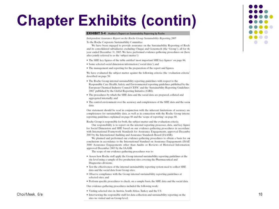 Choi/Meek, 6/e18 Chapter Exhibits (contin)