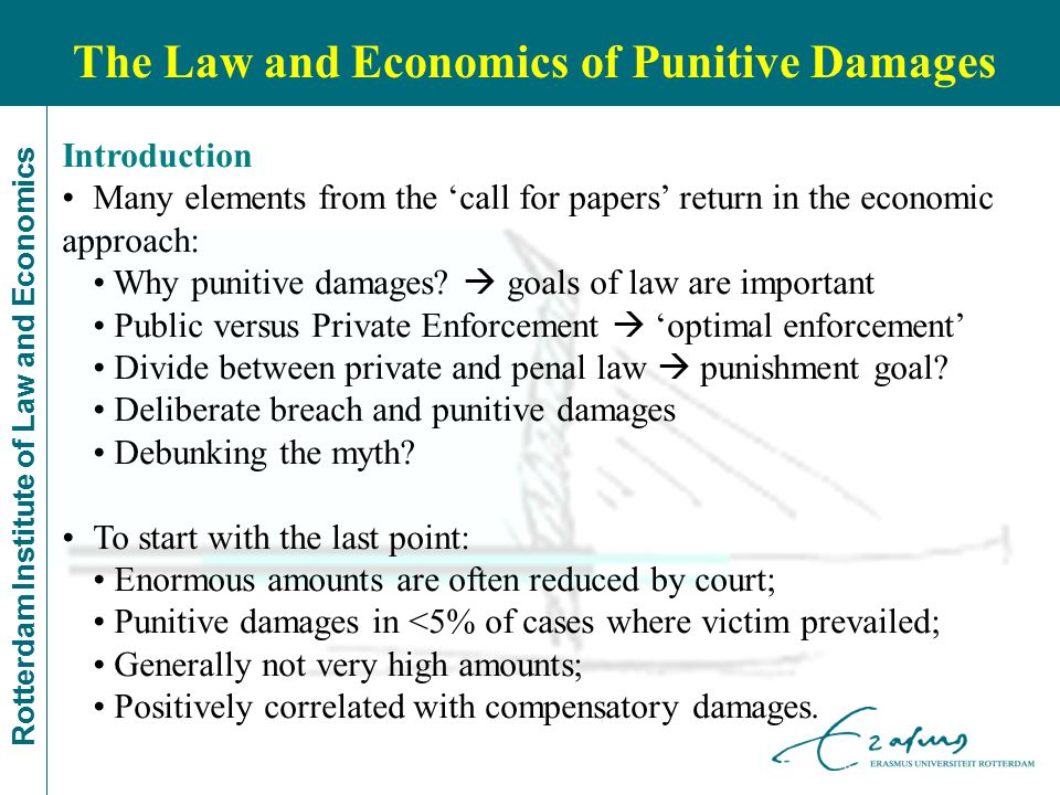 Rotterdam Institute of Law and Economics Introduction Many elements from the 'call for papers' return in the economic approach: Why punitive damages.