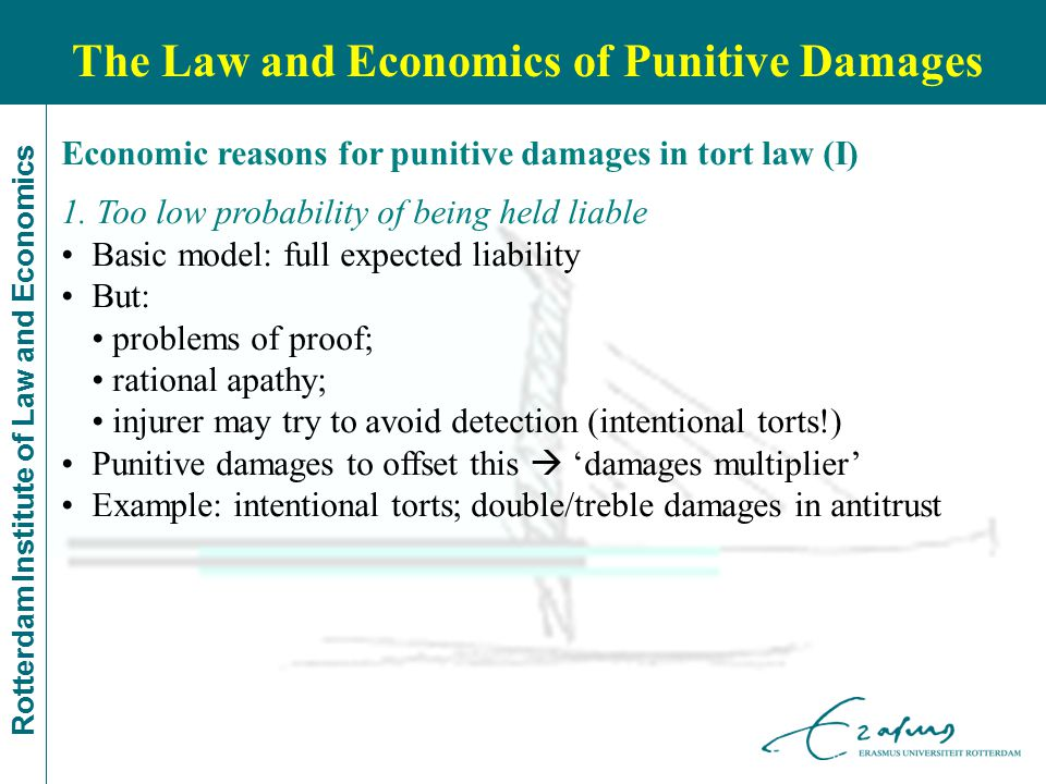 Rotterdam Institute of Law and Economics Economic reasons for punitive damages in tort law (I) 1. Too low probability of being held liable Basic model