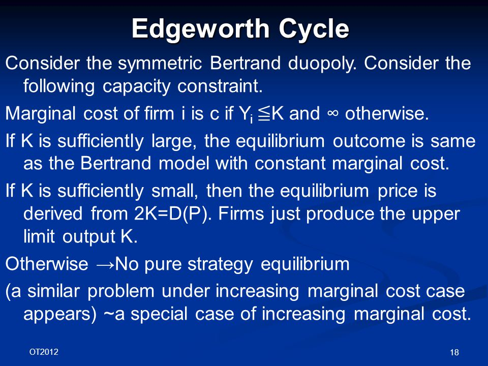 OT2012 18 Edgeworth Cycle Consider the symmetric Bertrand duopoly.