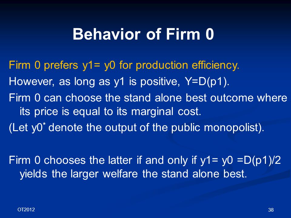 OT2012 38 Behavior of Firm 0 Firm 0 prefers y1= y0 for production efficiency.