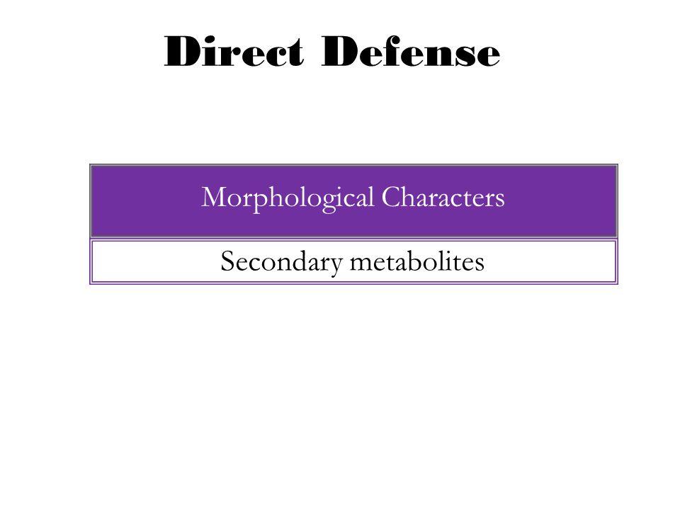 Direct Defense Morphological Characters E.g., Tannins Secondary metabolites Metabolites