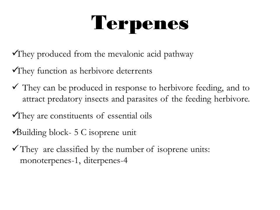 Terpenes They produced from the mevalonic acid pathway They function as herbivore deterrents They can be produced in response to herbivore feeding, an