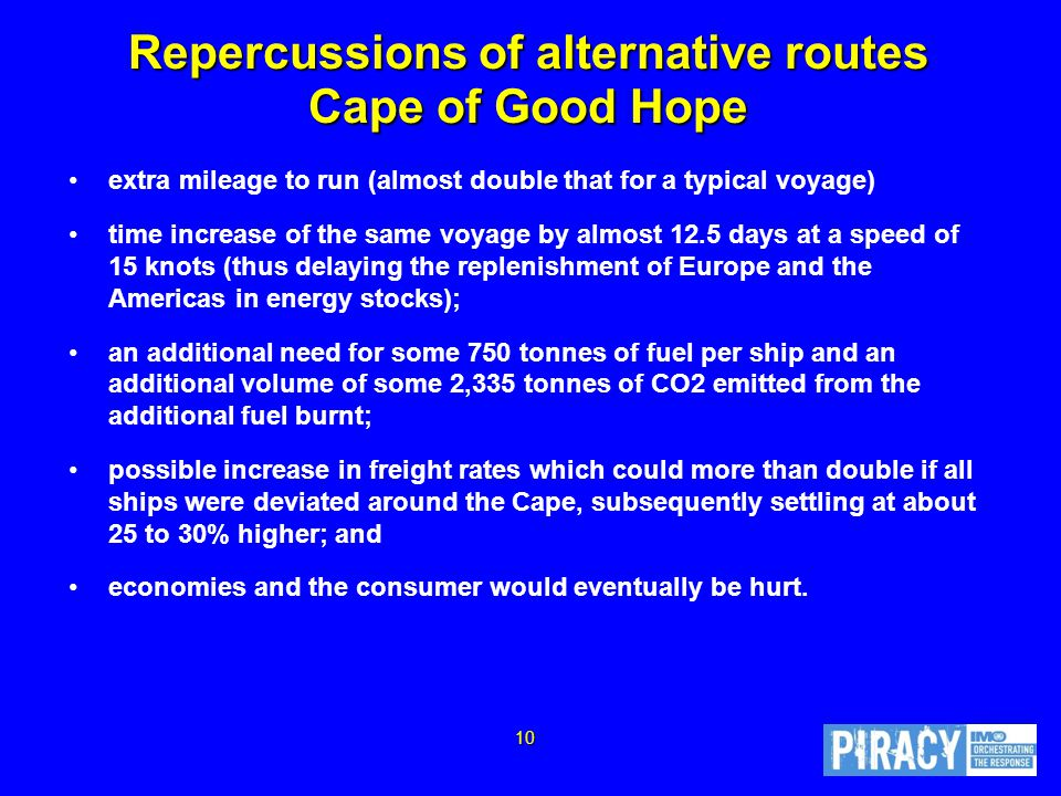Repercussions of alternative routes Cape of Good Hope extra mileage to run (almost double that for a typical voyage) time increase of the same voyage by almost 12.5 days at a speed of 15 knots (thus delaying the replenishment of Europe and the Americas in energy stocks); an additional need for some 750 tonnes of fuel per ship and an additional volume of some 2,335 tonnes of CO2 emitted from the additional fuel burnt; possible increase in freight rates which could more than double if all ships were deviated around the Cape, subsequently settling at about 25 to 30% higher; and economies and the consumer would eventually be hurt.