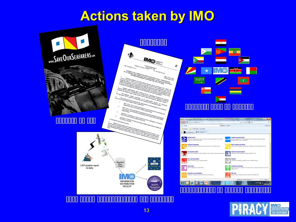 Actions taken by IMO Djibouti Code of Conduct Support to SOS Guidance Improvements to piracy reporting Long Range Identification and Tracking 13
