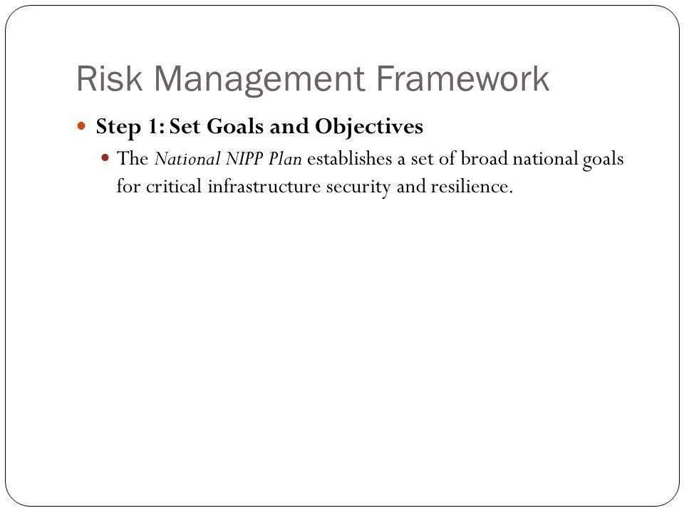Risk Management Framework Step 1: Set Goals and Objectives The National NIPP Plan establishes a set of broad national goals for critical infrastructur