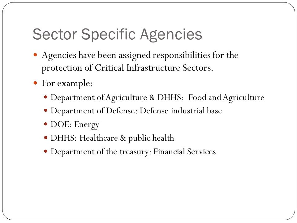 Sector Specific Agencies Agencies have been assigned responsibilities for the protection of Critical Infrastructure Sectors. For example: Department o