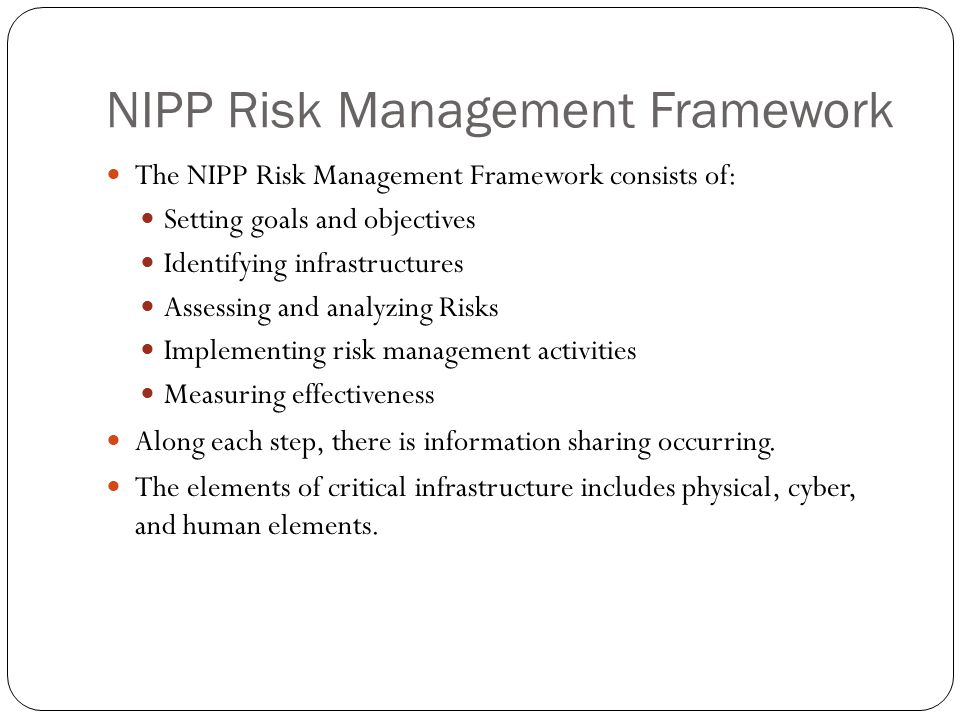 Information Sharing The NIPP information-sharing approach constitutes a shift from a strictly hierarchical to a networked model, allowing distribution and access to information both vertically and horizontally, as well as the ability to enable decentralized decision making and actions.
