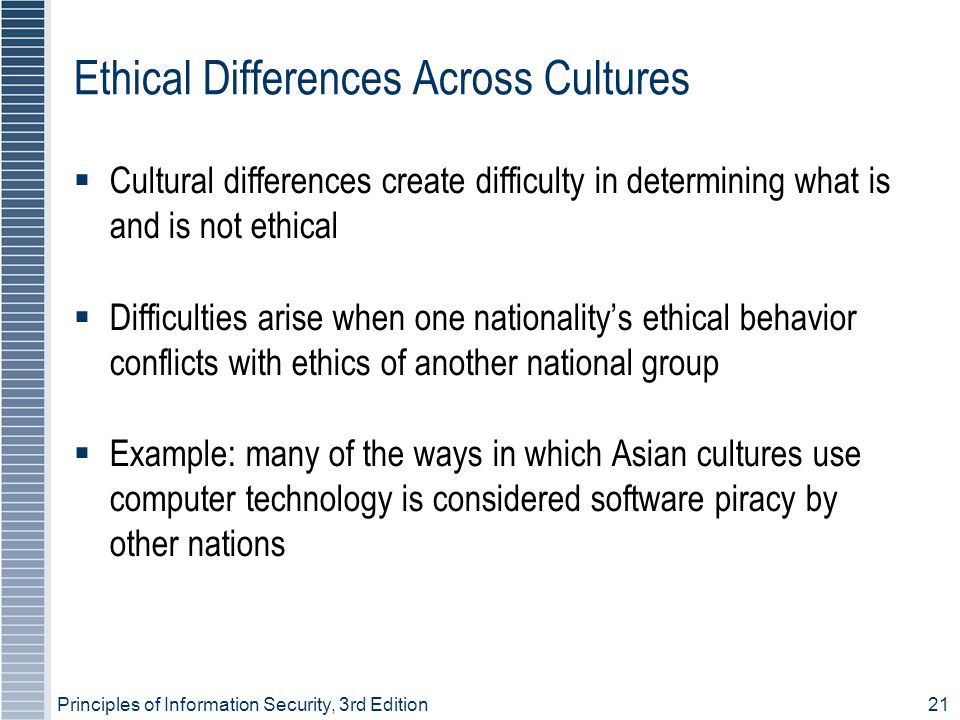 Principles of Information Security, 3rd Edition21 Ethical Differences Across Cultures  Cultural differences create difficulty in determining what is and is not ethical  Difficulties arise when one nationality's ethical behavior conflicts with ethics of another national group  Example: many of the ways in which Asian cultures use computer technology is considered software piracy by other nations