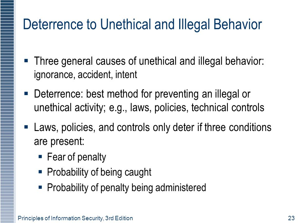 Principles of Information Security, 3rd Edition23 Deterrence to Unethical and Illegal Behavior  Three general causes of unethical and illegal behavior: ignorance, accident, intent  Deterrence: best method for preventing an illegal or unethical activity; e.g., laws, policies, technical controls  Laws, policies, and controls only deter if three conditions are present:  Fear of penalty  Probability of being caught  Probability of penalty being administered
