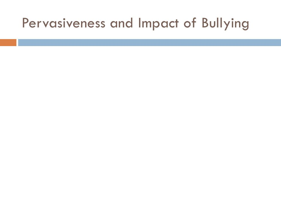 Pervasiveness and Impact of Bullying