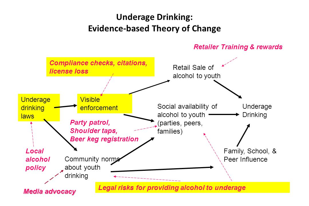Underage Drinking: Evidence-based Theory of Change Underage Drinking Social availability of alcohol to youth (parties, peers, families) Retail Sale of
