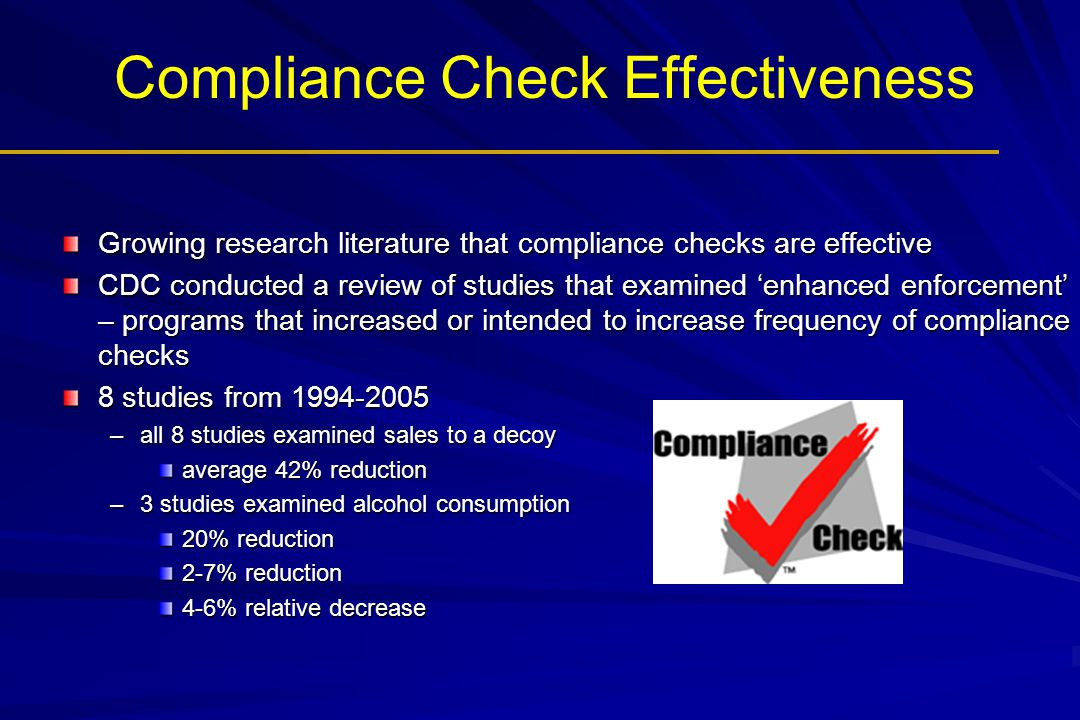 Compliance Check Effectiveness Growing research literature that compliance checks are effective CDC conducted a review of studies that examined 'enhanced enforcement' – programs that increased or intended to increase frequency of compliance checks 8 studies from 1994-2005 –all 8 studies examined sales to a decoy average 42% reduction –3 studies examined alcohol consumption 20% reduction 2-7% reduction 4-6% relative decrease