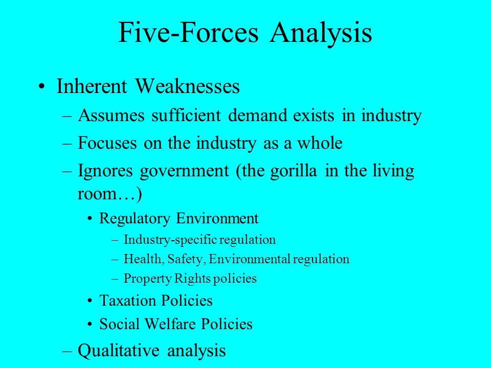 Five-Forces Analysis Inherent Weaknesses –Assumes sufficient demand exists in industry –Focuses on the industry as a whole –Ignores government (the go