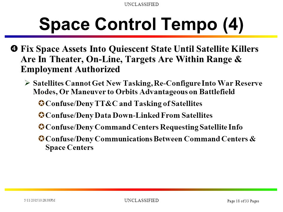 UNCLASSIFIED 5/11/2015 10:30:14 PM UNCLASSIFIED Page 17 of 33 Pages Space Control Tempo (3)  Deter Red & Gray Use of Space Assets  Space Escalation Ladder Control JPre-Conflict JTrans-Conflict  Blue May Not Want to Escalate Space War All the Way JBlue May Have More Space Assets to Lose Than Red JBlue May Force Red to Use Gray Space Assets, Which Blue May Be Self-Deterred From Attacking JBlue May Be Monitoring Red/Gray Space Assets for INTEL