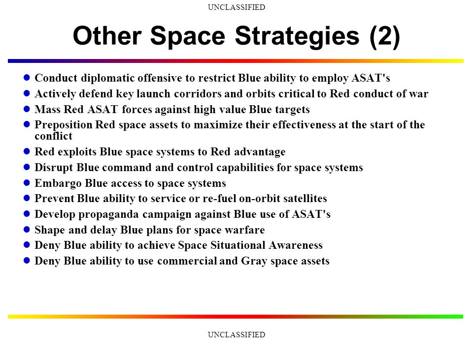 UNCLASSIFIED Other Space Strategies (1) Blind Blue capabilities to observe the terrestrial battlefield Blind Blue capabilities to support the terrestrial battlefield Blind Blue capabilities to observe space from terrestrial sensors Blind Blue capabilities to observe space from space-based sensors Spoof Blue capabilities to observe the battlefield Spoof Blue capabilities to support the battlefield Deny Blue ability to launch new satellites Destroy some Blue space capability as a warning to Gray space systems support to Blue Wear down Blue Defensive Counter-Space capabilities by instigating multiple false alarm attacks Attack Blue satellites before the start of the terrestrial conflict Spoof Blue perceptions of Red space strengths Conduct surprise attacks on Blue space systems