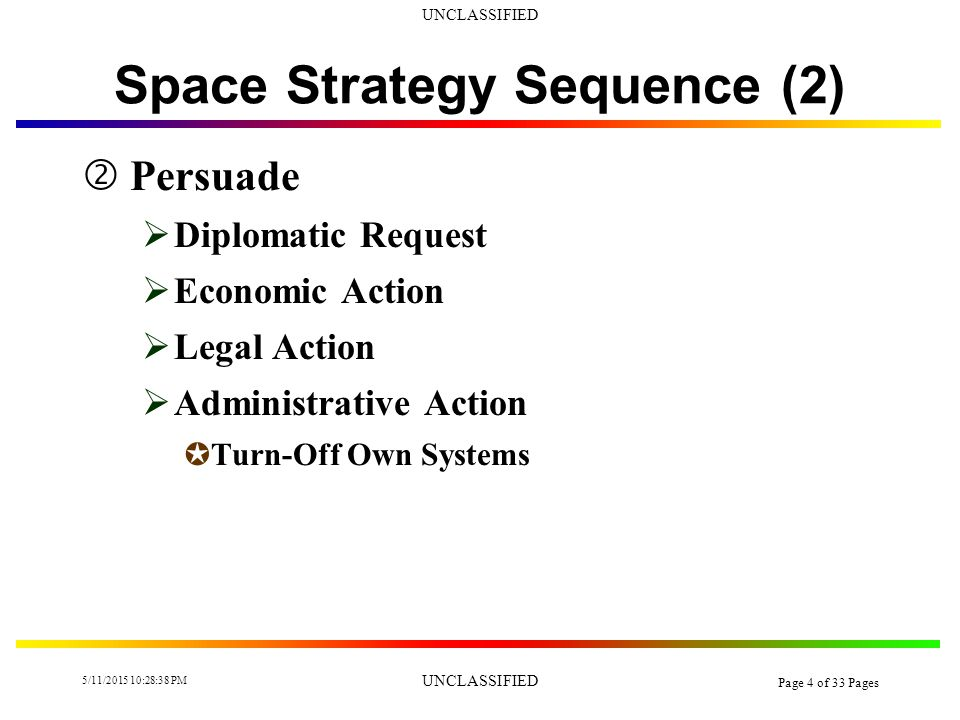 UNCLASSIFIED 5/11/2015 10:30:14 PM UNCLASSIFIED Page 3 of 33 Pages Space Strategy Sequence (1)  Deter (Pre-Conflict)  Overt Weapon JDemonstrated Capability JCan Be Secretly Linked To Covert  Space Treaty Allows JEmbargo Gray Country Space Support U Jam U Blind JDestruction of Threatening Space Systems  Saber Rattling  Space Mutual Defense Alliances