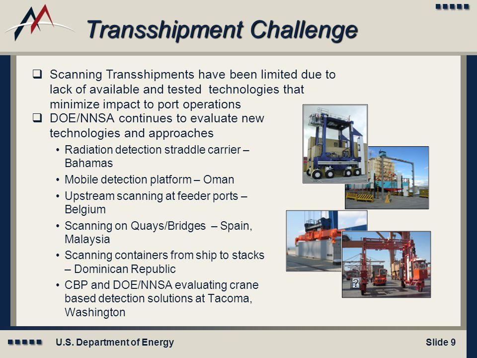 U.S. Department of EnergySlide 9 Transshipment Challenge  DOE/NNSA continues to evaluate new technologies and approaches Radiation detection straddle